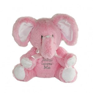 Jesus Loves Me - Musical Elephant Plush - Pink
