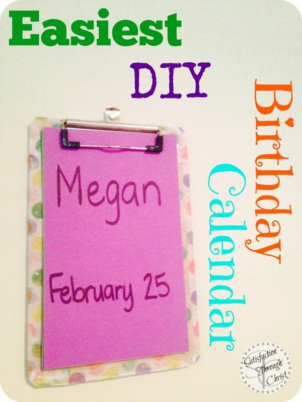Easy DIY Birthday Calendar from Satisfaction Through Christ blog
