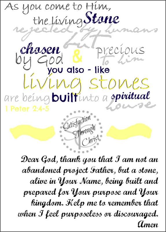 1 Peter 2:4-5 prayer journal printable from Satisfaction Through Christ