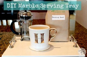 Make this beautiful marble serving tray in a few simple steps! Makes a perfect DIY Christmas gift!