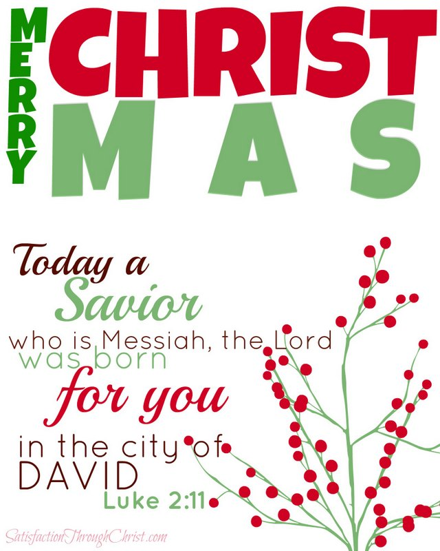 Merry Christmas 8 by 10 from Satisfaction Through Christ