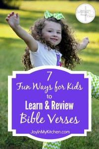 Don't let the memory verses fade away! Use these 7 fun ways to help your kids review Bible verses they've learned at church, school, Awana or home.