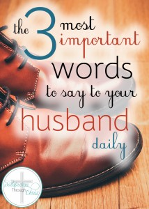 This small phrase is one of the best things you could say to your husband daily! He needs to hear it - through your words, actions, and love. Here you'll find six ways to communicate these three words everyday! Be intentional about growing your marriage today.
